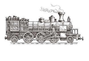 sketch. retro train on a white background